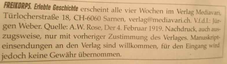 Freikorps-Magazin Impressum