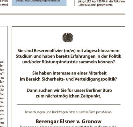Anzeige Berengar Elsner von Gronow