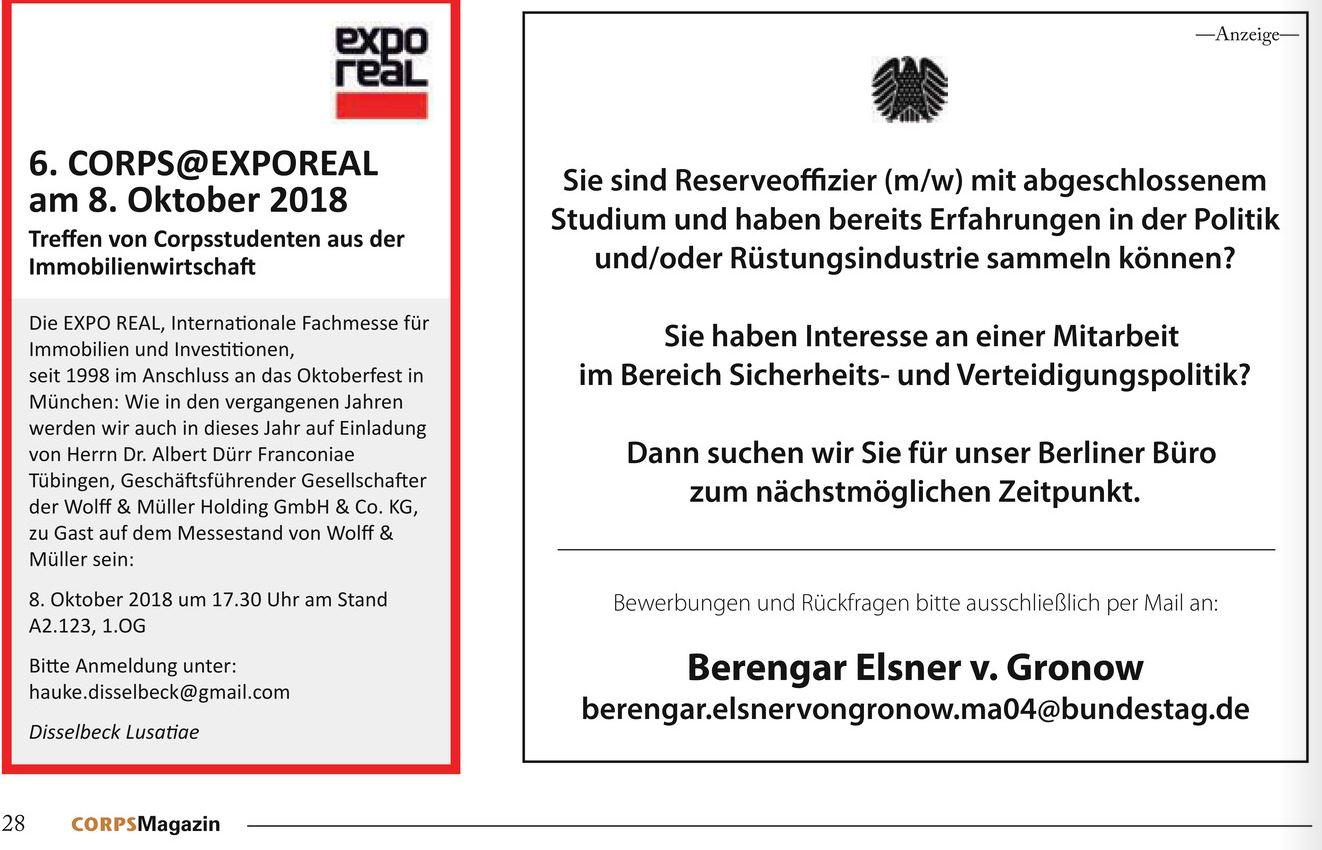 Anzeige Berengar Elsner von Gronow in Corps-Magazin 2/2018