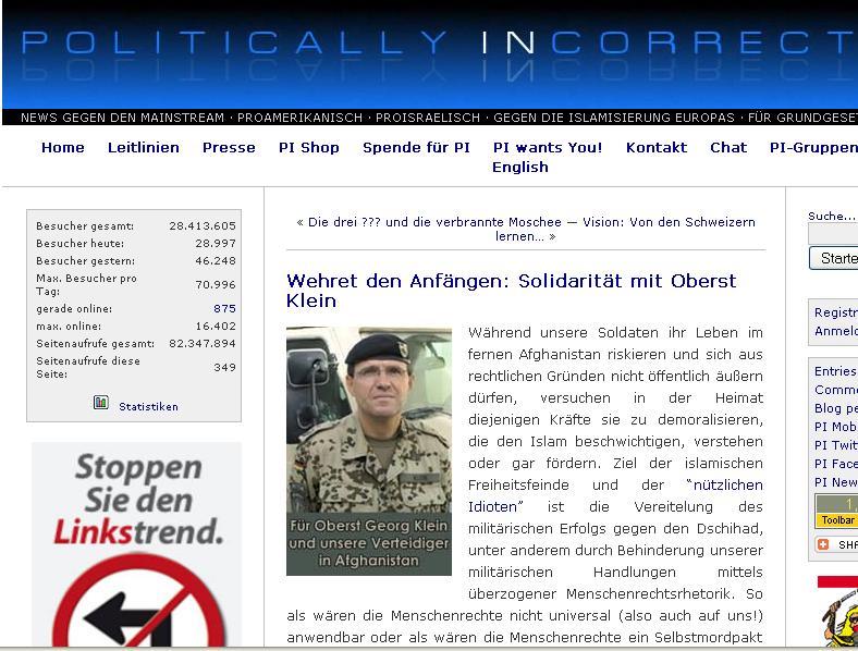PI-News-Solidarität mit Oberst Klein